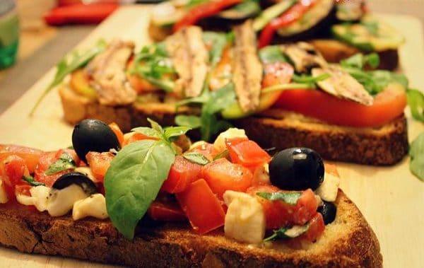 Comida vegetariana rapida bruschettas de antipasto - Comida vegetariana facil de preparar ...