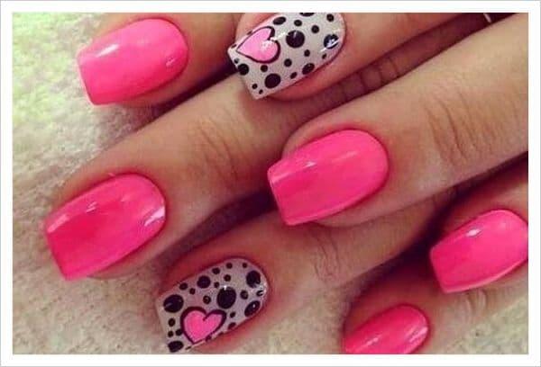hermosas uñas con corazon